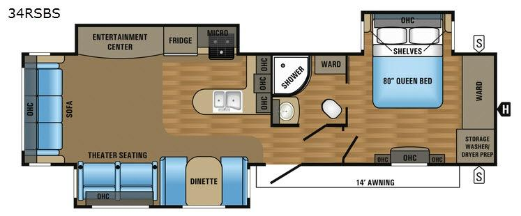 Jay Flight 34RSBS Floorplan Image