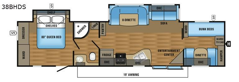 Jay Flight 38BHDS Floorplan Image