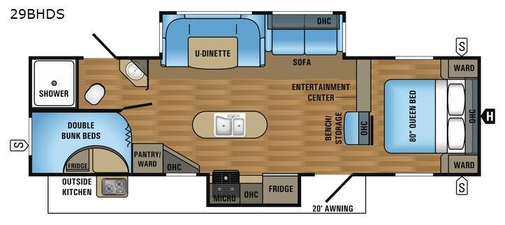 Jay Flight 29BHDS Floorplan Image