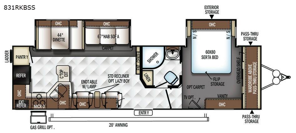 Flagstaff Classic Super Lite 831RKBSS Floorplan Image