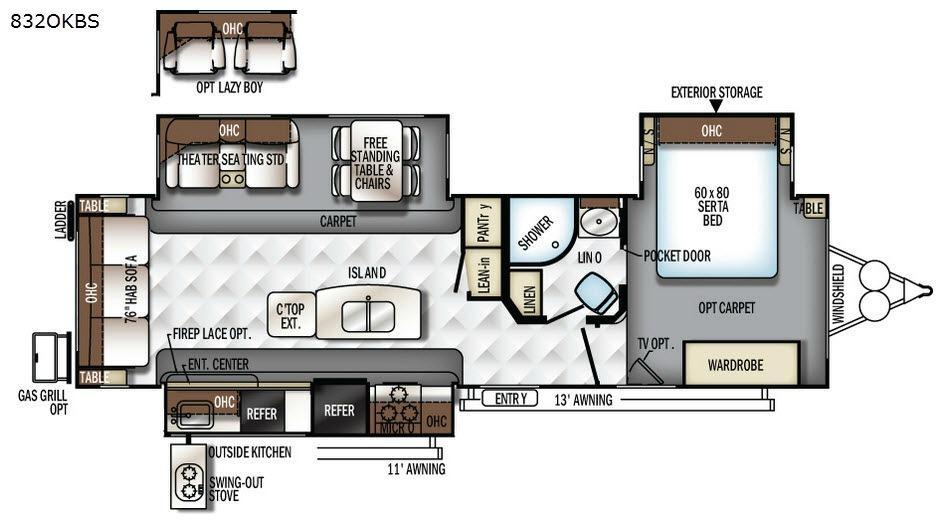 Flagstaff Classic Super Lite 832OKBS Floorplan Image