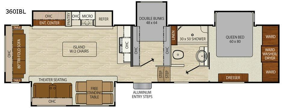 Floorplan - 2017 Chaparral 360IBL Fifth Wheel
