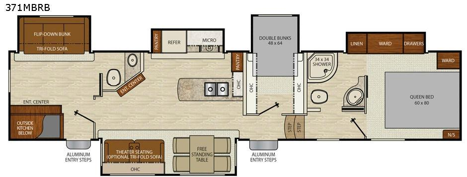 Floorplan - 2017 Chaparral 371MBRB Fifth Wheel