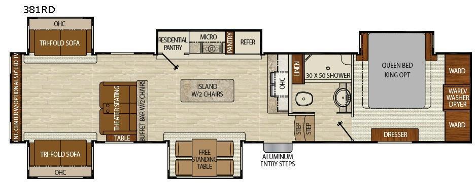 Floorplan - 2017 Chaparral 381RD Fifth Wheel