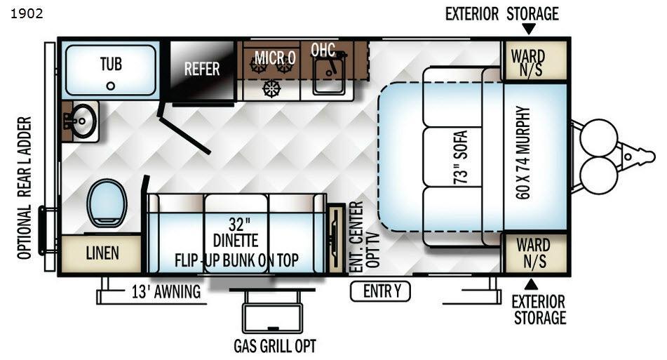 Rockwood Mini Lite 1902 Floorplan Image