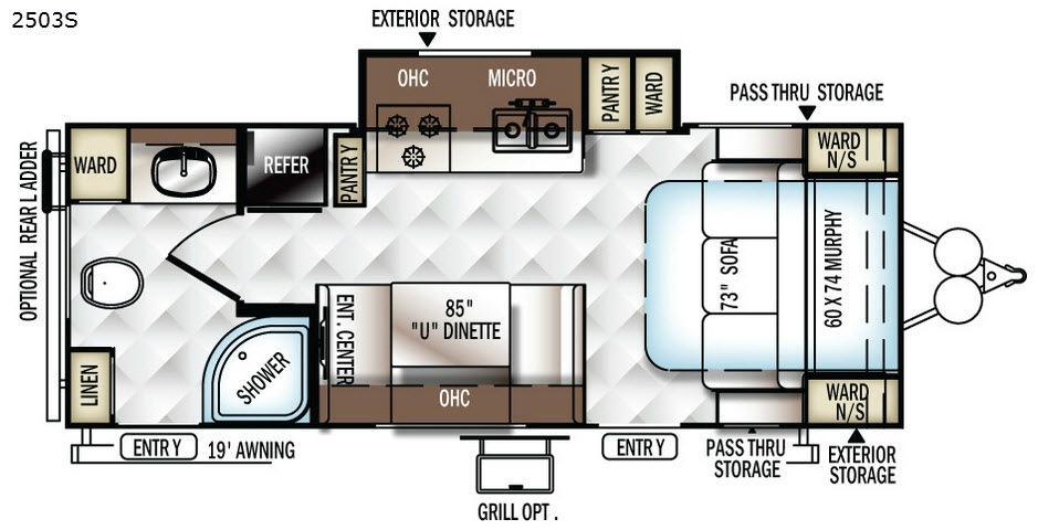 Rockwood Mini Lite 2503S Floorplan Image