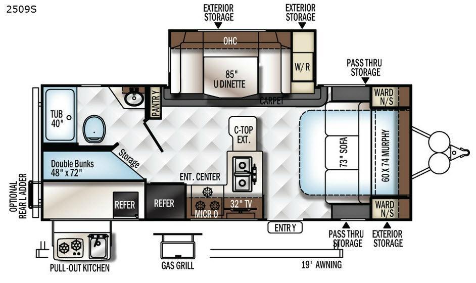 Rockwood Mini Lite 2509S Floorplan Image