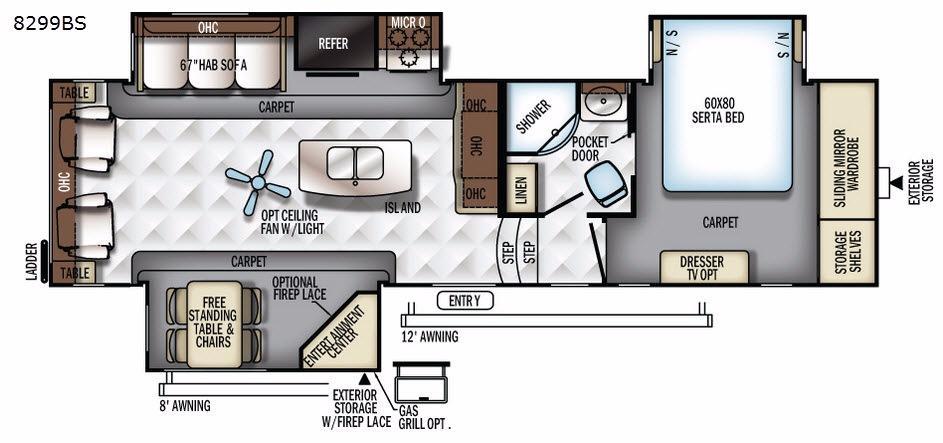 Rockwood Signature Ultra Lite 8299BS Floorplan Image