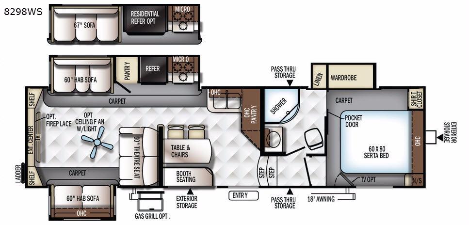 Rockwood Signature Ultra Lite 8298WS Floorplan Image