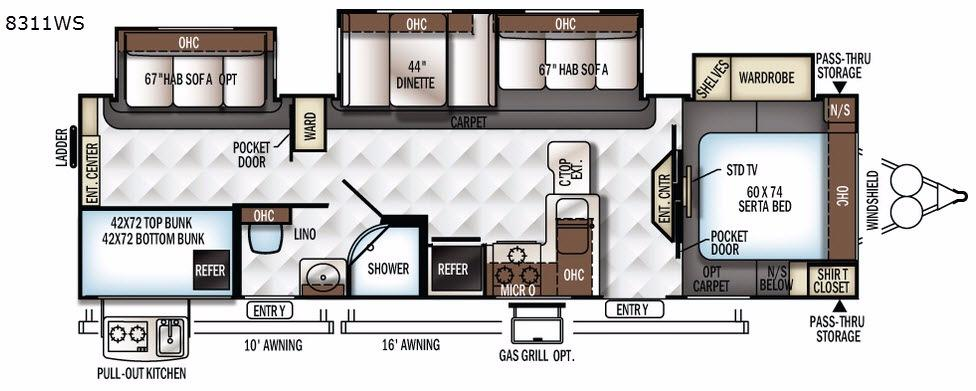 Rockwood Signature Ultra Lite 8311WS Floorplan Image