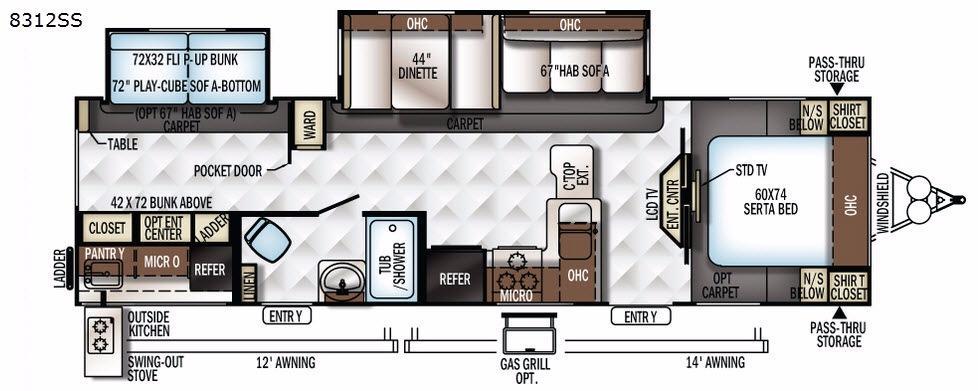 Rockwood Signature Ultra Lite 8312SS Floorplan Image