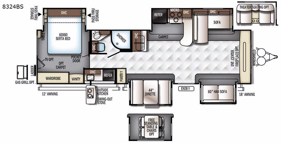 Rockwood Signature Ultra Lite 8324BS Floorplan Image