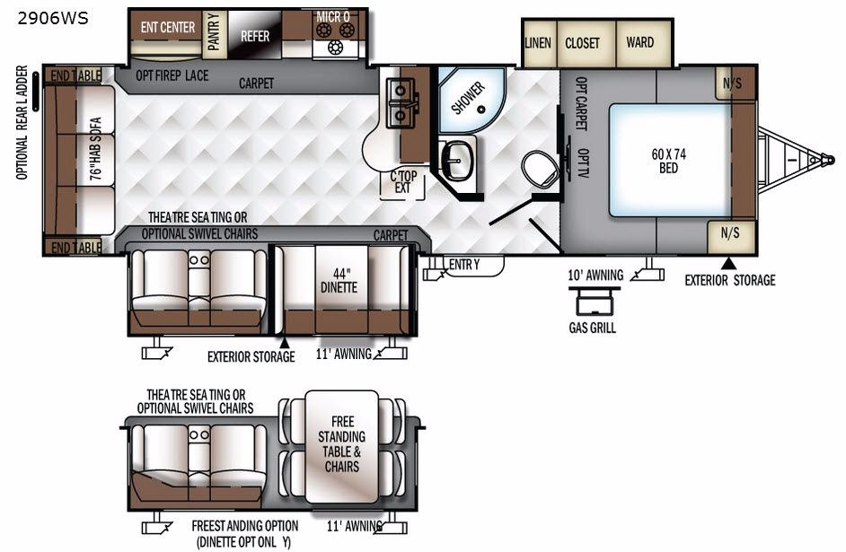 Rockwood Ultra Lite 2906WS Floorplan Image