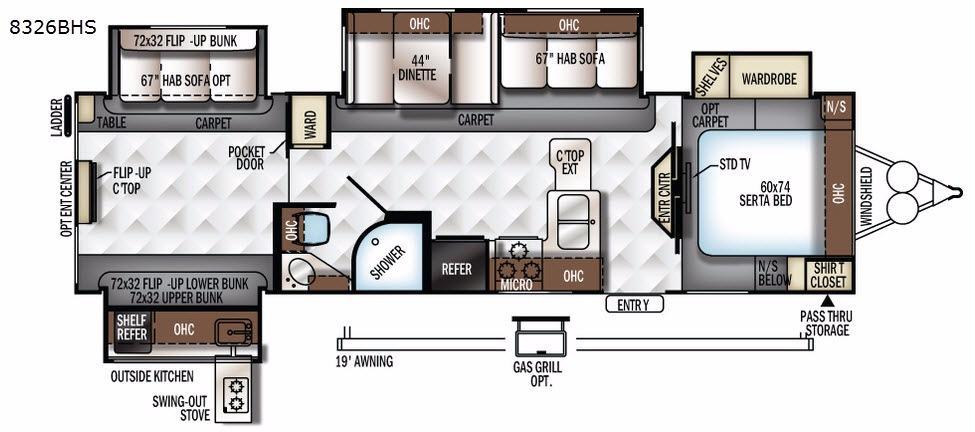 Rockwood Signature Ultra Lite 8326BHS Floorplan Image