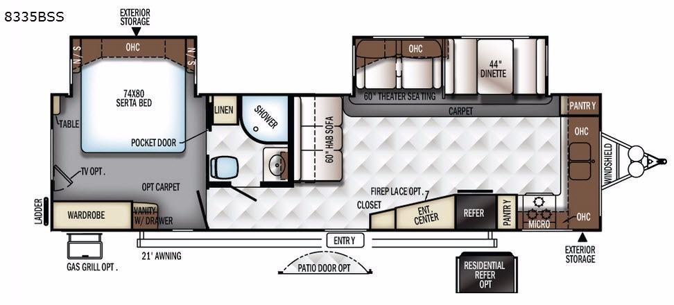Rockwood Signature Ultra Lite 8335BSS Floorplan Image