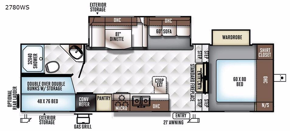 Rockwood Ultra Lite 2780WS Floorplan Image