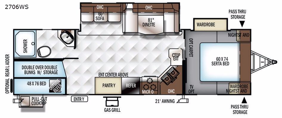Rockwood Ultra Lite 2706WS Floorplan Image