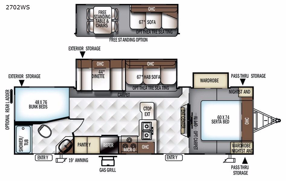 Rockwood Ultra Lite 2702WS Floorplan Image