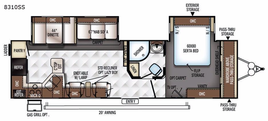Rockwood Signature Ultra Lite 8310SS Floorplan Image