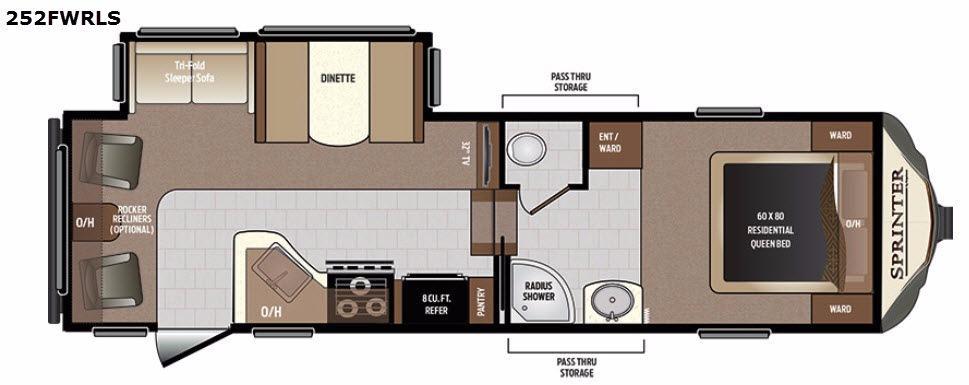 Sprinter 252FWRLS Floorplan Image