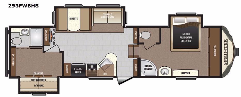 Sprinter 293FWBHS Floorplan Image