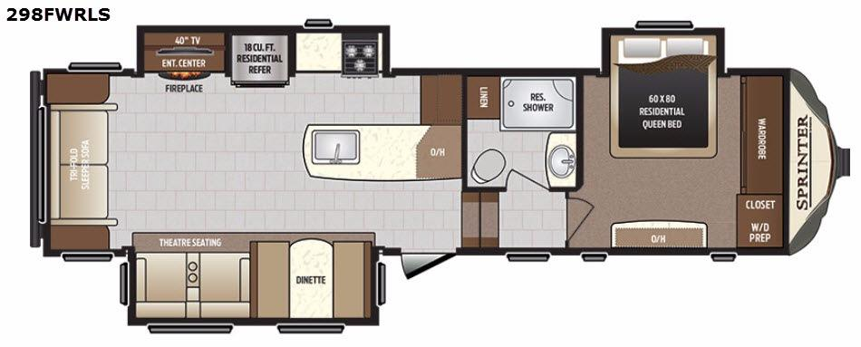 Sprinter 298FWRLS Floorplan Image