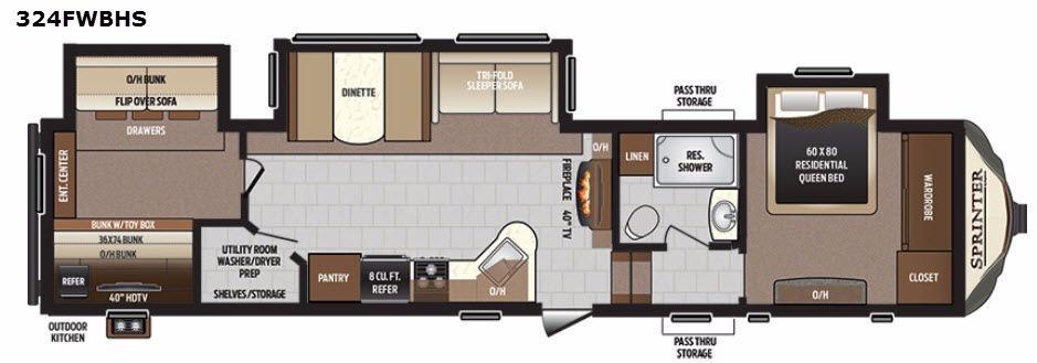 Sprinter 324FWBHS Floorplan Image