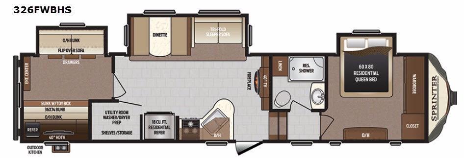 Sprinter 326FWBHS Floorplan Image