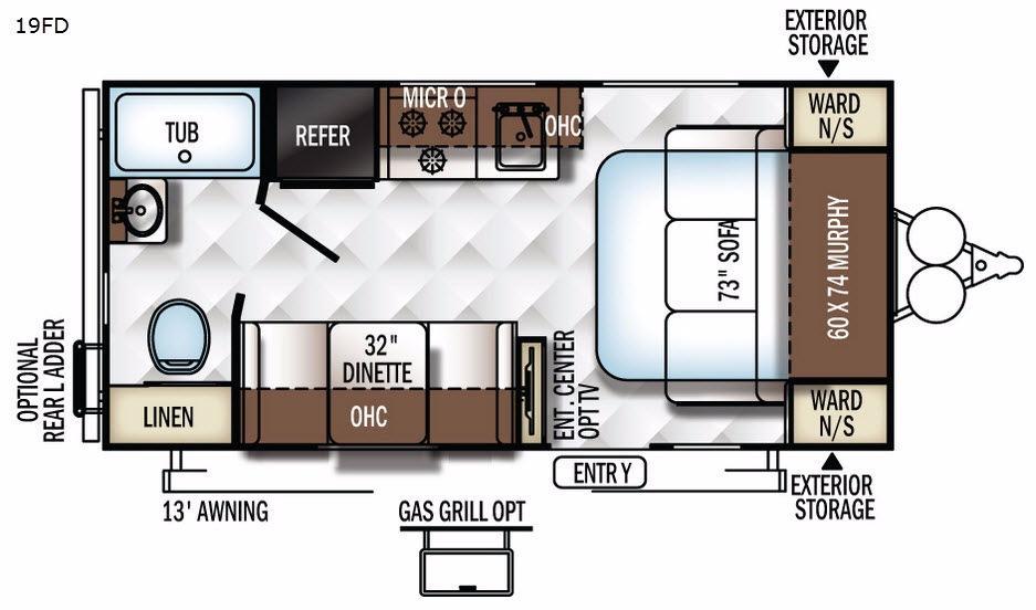 Flagstaff Micro Lite 19FD Floorplan Image