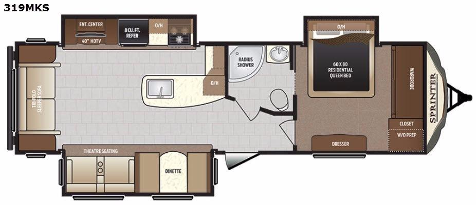 Sprinter 319MKS Floorplan Image