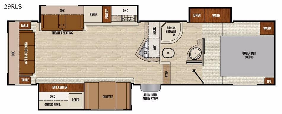 Chaparral Lite 29RLS Floorplan Image