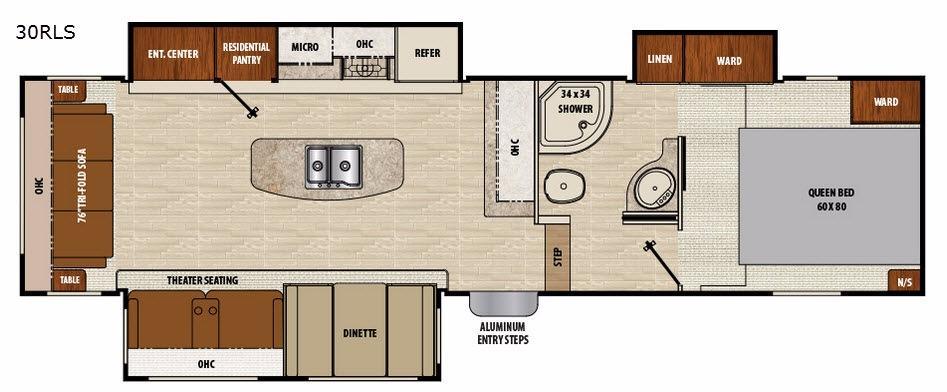 Chaparral Lite 30RLS Floorplan Image