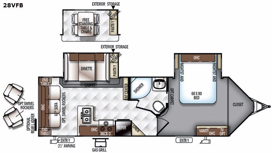 Flagstaff Super Lite 28VFB Floorplan Image