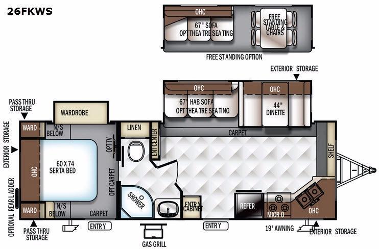 Flagstaff Super Lite 26FKWS Floorplan Image