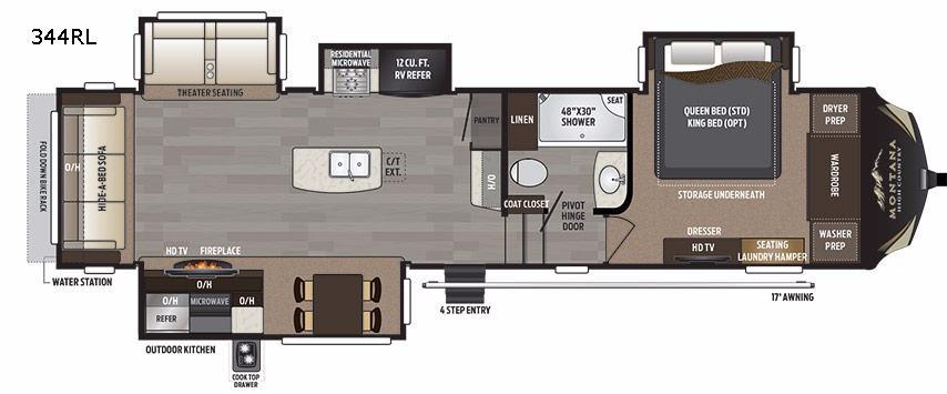 Montana High Country 344RL Floorplan Image