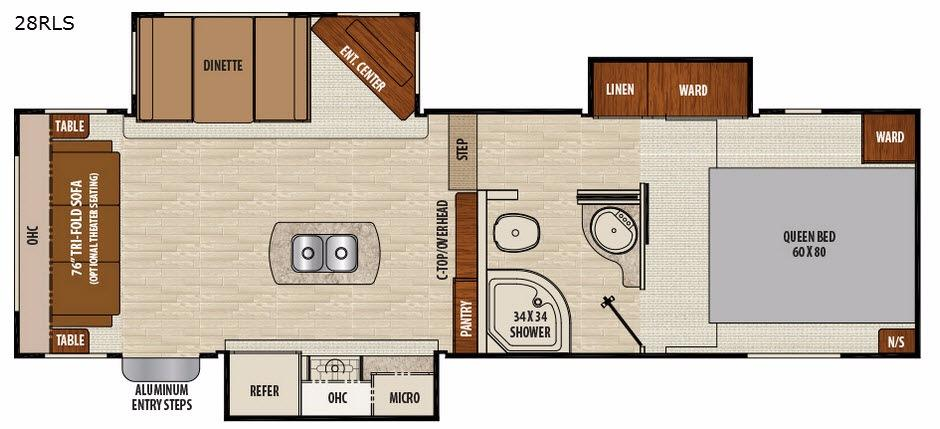 Floorplan - 2017 Chaparral Lite 28RLS Fifth Wheel