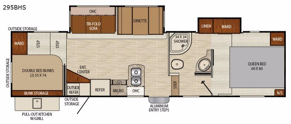 Floorplan - 2017 Chaparral Lite 295BHS Fifth Wheel
