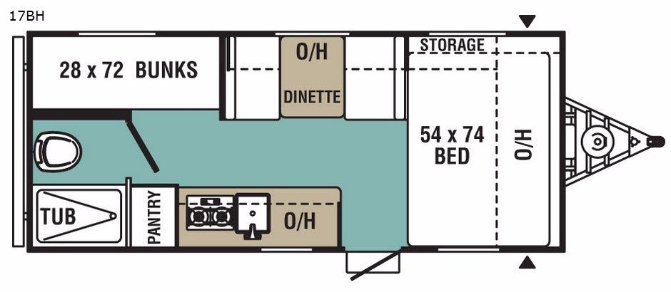 Ultra-Lite 17BH Floorplan Image