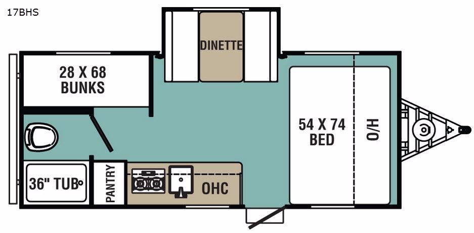 Ultra-Lite 17BHS Floorplan Image