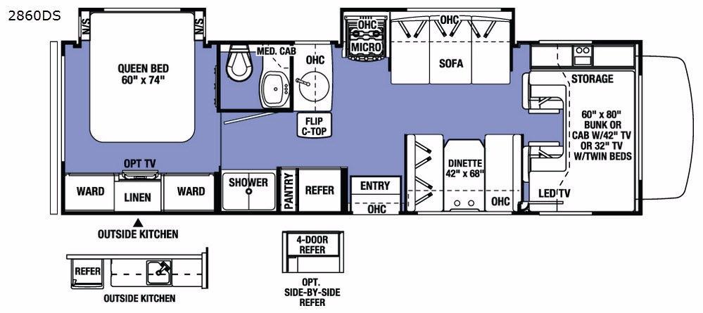 Sunseeker 2860DS Chevy Floorplan Image