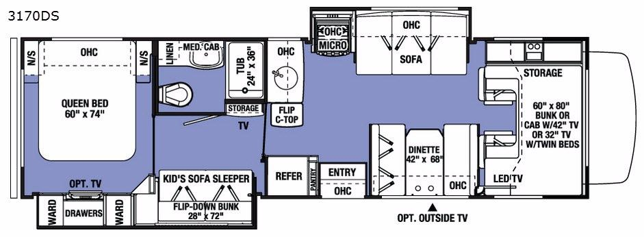 Sunseeker 3170DS Ford Floorplan Image