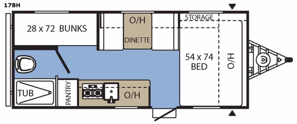 Clipper Ultra-Lite 17BH Floorplan Image