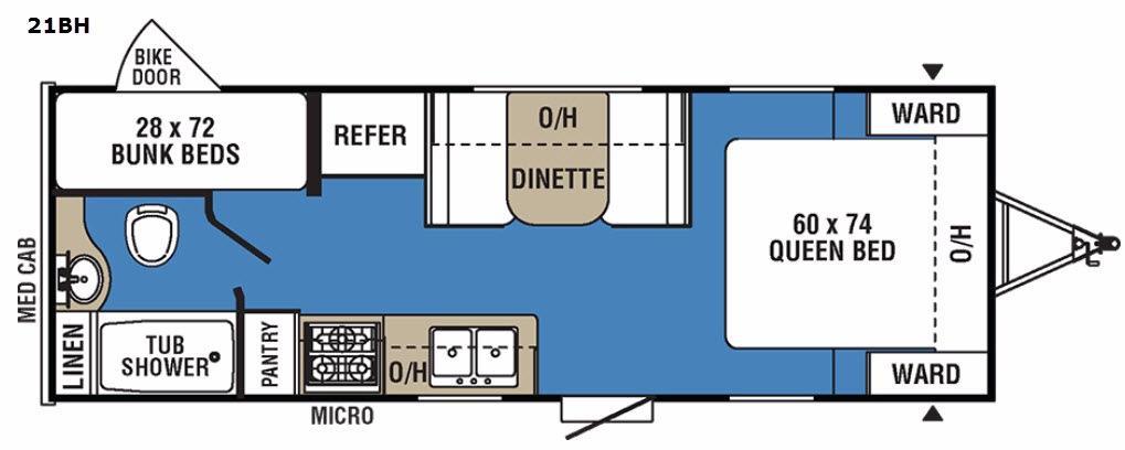 Clipper Ultra-Lite 21BH Floorplan Image