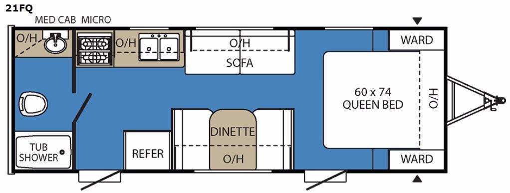 Clipper Ultra-Lite 21FQ Floorplan Image