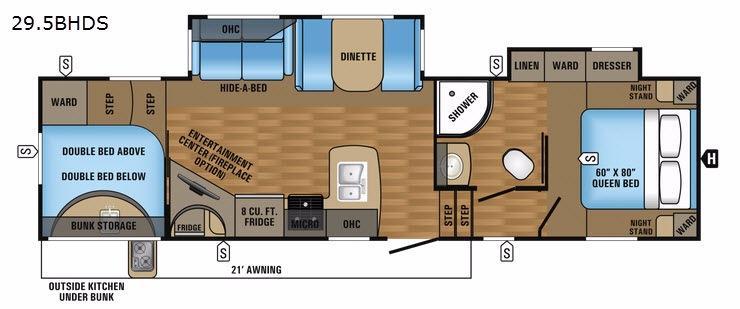 Eagle HT 29.5BHDS Floorplan Image