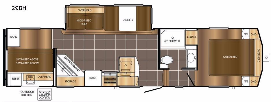 Crusader LITE 29BH Floorplan Image