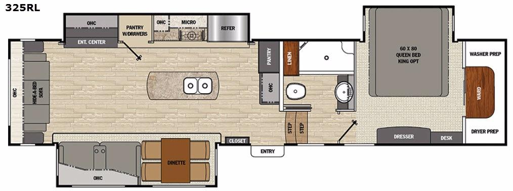 Floorplan - 2017 Brookstone 325RL Fifth Wheel
