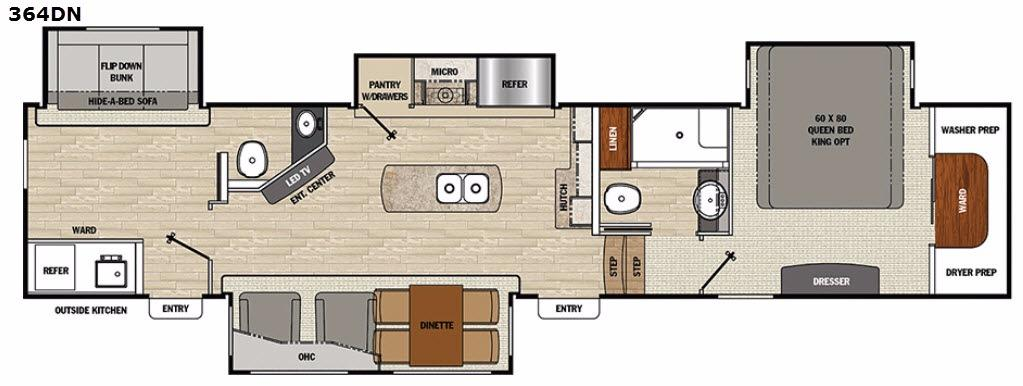 Floorplan - 2017 Brookstone 364DN Fifth Wheel