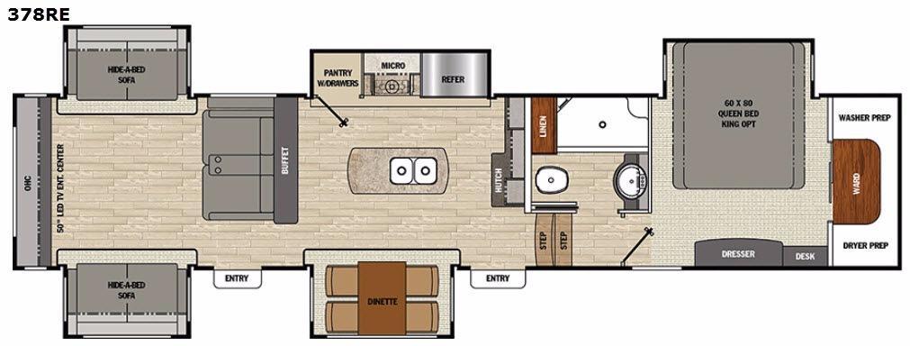 Floorplan - 2017 Brookstone 378RE Fifth Wheel