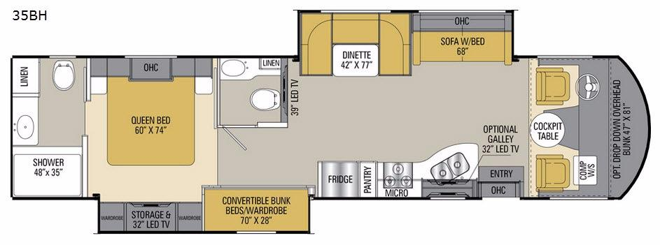 Floorplan - 2017 Mirada 35BH Motor Home Class A